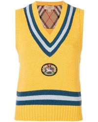 Burberry Wool And Cashmere Vest - Yellow