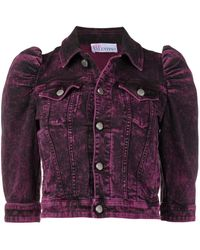 RED Valentino Puff-sleeve Cropped Denim Jacket - Purple