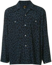 Needles Pointed Collar Leopard Print Shirt - Blue