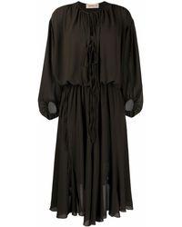 Blanca Vita Платье Миди С Длинными Рукавами И Сборками - Зеленый