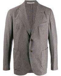 Eleventy Peak lapel check blazer - Grigio