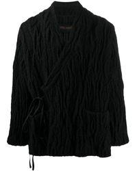 Uma Wang Manteau texturé à taille nouée - Noir