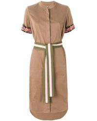 Bazar Deluxe Embroidered Belted Shirt Dress - Brown