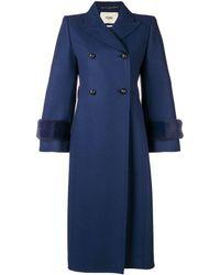 Fendi Embellished Double Breasted Coat - Синий