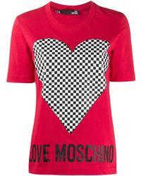 Love Moschino Heart Print T-shirt - Red