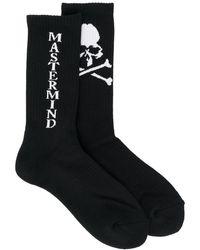 Mastermind Japan Chaussettes à logo en intarsia - Noir