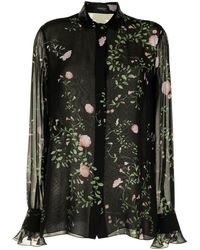 Giambattista Valli Floral Print Chiffon Shirt - Black