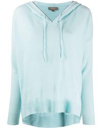 N.Peal Cashmere Chain Trim Cashmere Hoodie - Blue