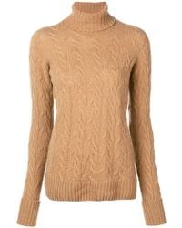 Drumohr - Cable Knit Turtle Neck Sweater - Lyst