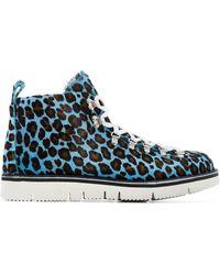 Fracap Leopard Print Hiking Boots - Blue