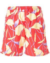 Supreme Floral Print Swim Trunks - Red
