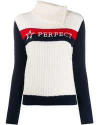 Perfect Moment Super Stripes Cable-knit Sweater - White