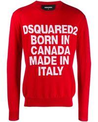 DSquared² Pull à détail de slogan imprimé - Rouge