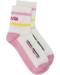 Heron Preston Ribbed Knit Logo Socks - Pink