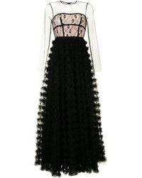 RED Valentino レース ラッフル ドレス - ブラック