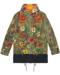 Gucci New Flora Snake Print Quilted Parka - Green