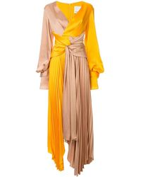Acler Empire Colour-block Pleated Gown - Brown