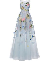 Oscar de la Renta Floral Embroidery Evening Gown - Blue