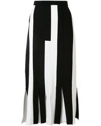 Ports 1961 Stripe-block Pleated-hem Knitted Skirt - White