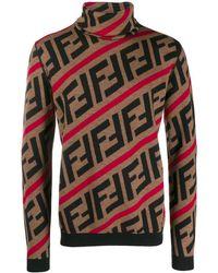 Fendi Jersey con cuello alto y motivo FF - Marrón