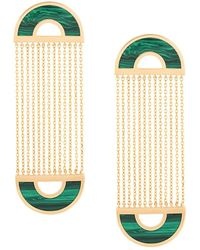 Nevernot Embellished Drop Earrings - Green