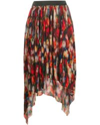 Frankie Morello Asymmetric Plissé Skirt - Red