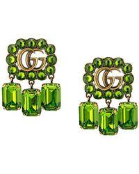Gucci Серьги С Логотипом Double G И Кристаллами - Зеленый