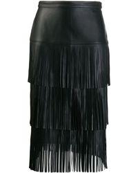 Karl Lagerfeld フリンジ レザースカート - ブラック