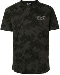 EA7 ジオメトリック Tシャツ - ブラック
