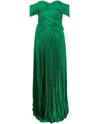 Elisabetta Franchi Off-shoulder Pleated Gown - Green