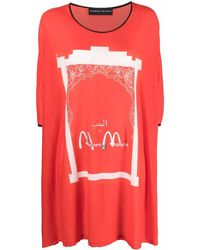 BARBARA BOLOGNA Graphic-print Oversized T-shirt - Red
