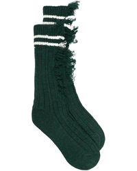 Maison Margiela Носки В Рубчик С Эффектом Потертости - Зеленый