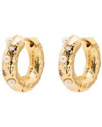 Anni Lu 18kt Gold-plated Pearl-embellished Hoop Earrings - Metallic
