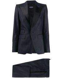 DSquared² Costume ajusté à détails contrastants - Bleu