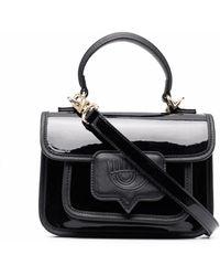 Chiara Ferragni Embossed-logo Faux-leather Satchel - Black