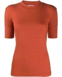 Courreges Ribbed Three-quarter Sleeve Top - Orange