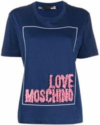 Love Moschino ロゴ Tシャツ - ブルー