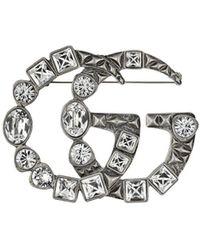 Gucci Broche de doble G con cristales - Metálico