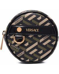 Versace Круглый Кошелек Для Монет С Узором La Greca - Черный