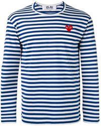 COMME DES GARÇONS PLAY Camiseta manga larga a rayas con detalle de corazón - Azul