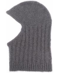 Cecilie Bahnsen Gaia Ribbed-knit Balaclava - Gray