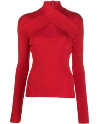 MSGM Crossover-strap Knitted Top - Red