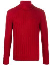 Lardini Свитер В Рубчик С Высоким Воротником - Красный