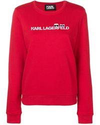 Karl Lagerfeld Ikonik & Logo Sweatshirt - Rood