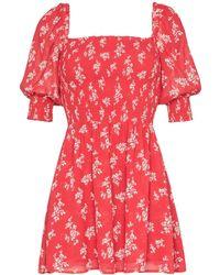 Reformation Robe courte Elee à fleurs - Rouge