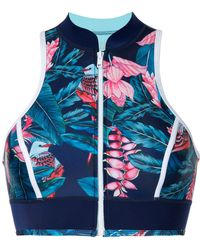 Duskii Tropical Print Bikini Top - Blauw