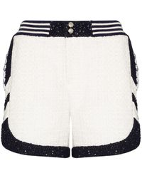 Faith Connexion White Patterned Tweed Shorts