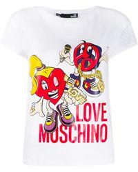 Love Moschino Peace Love Doll T-shirt - White