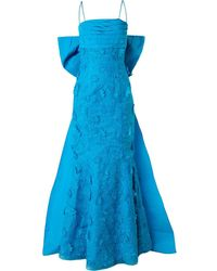 Bambah Fish Tail Floral Embroidered Evening Dress - Blue