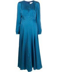Saloni パターン ロングドレス - ブルー